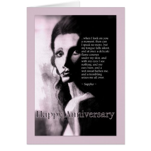 Romantic Happy Anniversary Day For Him Sappho Poem card