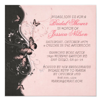 Romantic Pink Butterfly Swirls Bridal Shower Invitation