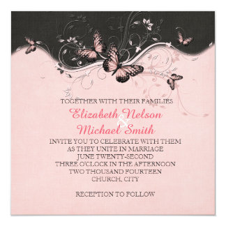 Romantic Pink Butterfly Swirls Wedding Invite