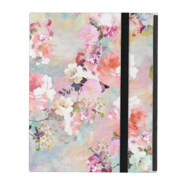 Romantic Pink Teal Watercolor Chic Floral Pattern iPad Cover