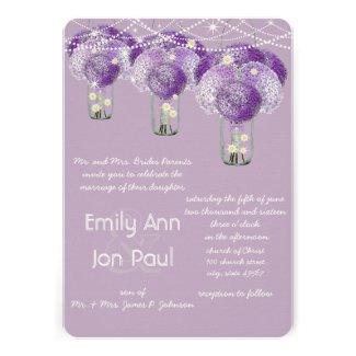 Romantic Purple Mason Jar Firefly Wedding Invitations