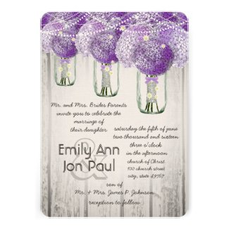 Romantic Radiant Orchid Mason Jar Firefly Wedding Custom Announcement
