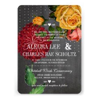 Romantic Rustic Chalkboard Heirloom Roses