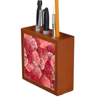 Romantic Valentines day pink and red roses Pencil/Pen Holder