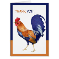 Rooster border Thank You Card