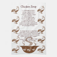 Roosters and Soup Bowl Chicken Soup Recipe Towel
