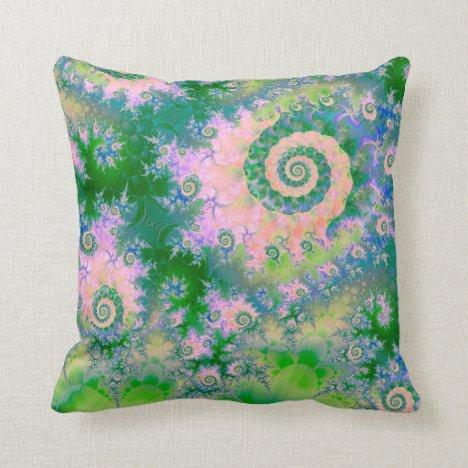 Rose Apple Green Dreams, Abstract Water Garden Throw Pillow