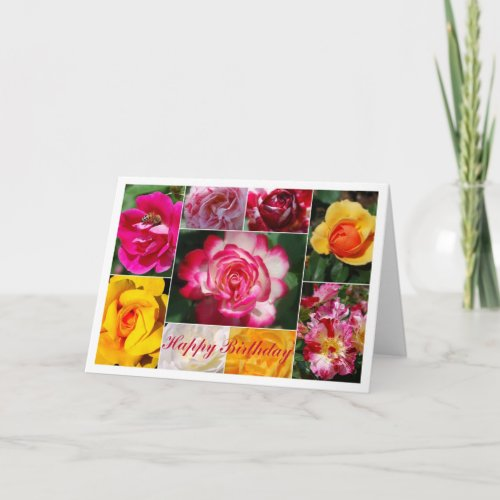 Rose Collage Happy Birthday Card card