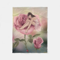 Rose Flower Fairy Fleece Blanket