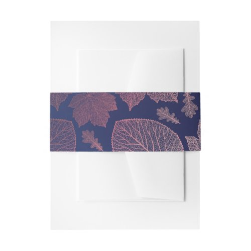 Rose Gold and Navy Blue Fall Leaves Pattern Invitation Belly Band