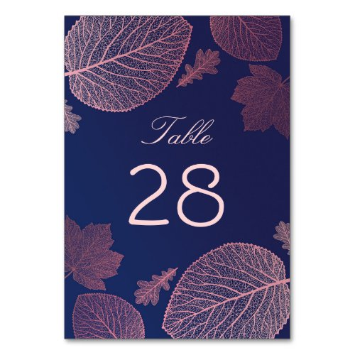 Rose Gold and Navy Blue Fall Leaves Wedding Table Number