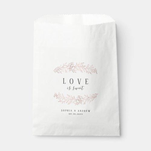 Rose gold botanical foliage elegant wedding favor favor bag