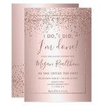 Rose gold confetti metallic divorce party invitation