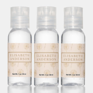 Rose Gold Dandelions Personalized Hand Sanitizer