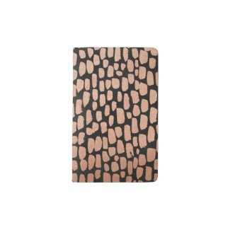 Rose Gold Dots on Black Moleskin Notebook
