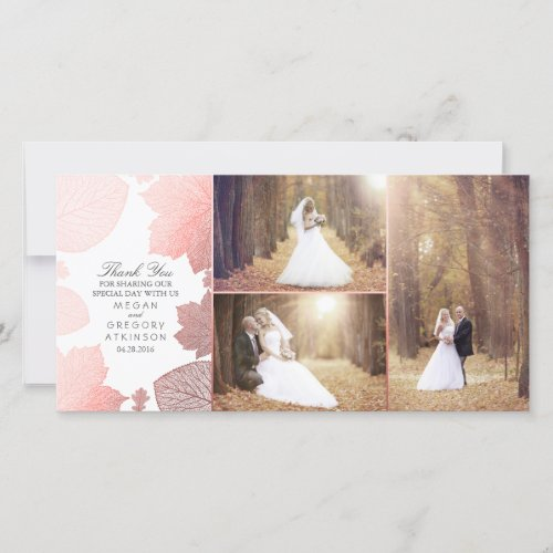 Rose Gold Fall Leaves Wedding Photo Thank You