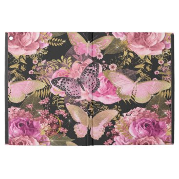 "Rose Gold Floral and Butterfly Girly Pattern iPad Pro 12.9"" Case"