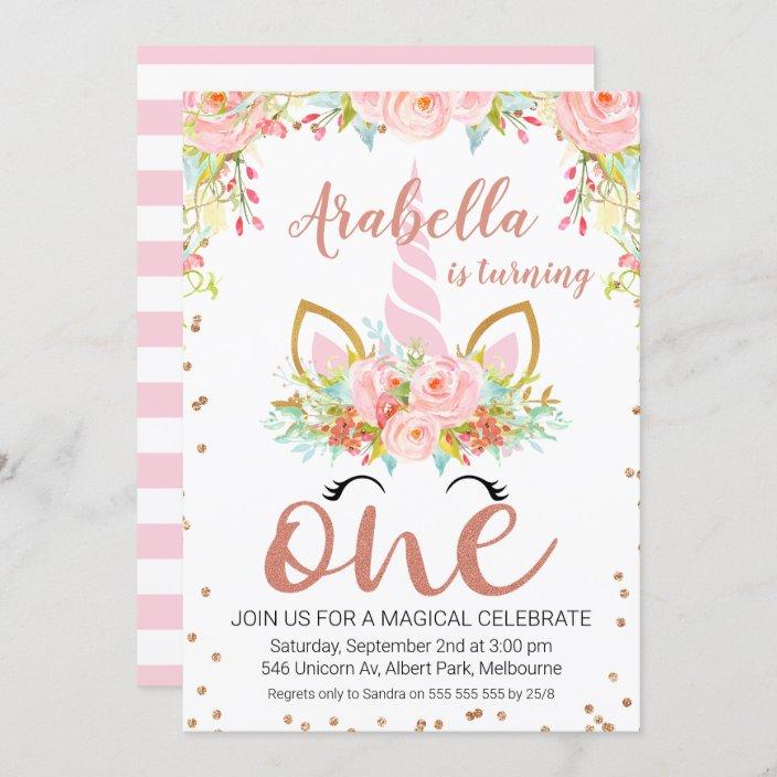 rose gold floral unicorn 1st birthday invitation zazzle com
