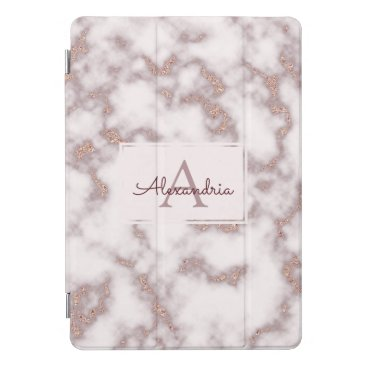 Rose Gold Foil Glitter Pink Marble Name Monogram iPad Pro Cover