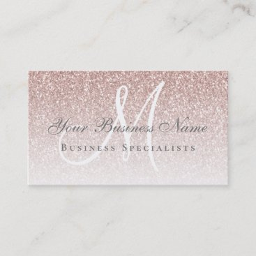 Rose Gold Glitter Modern Elegance Monogram Business Card