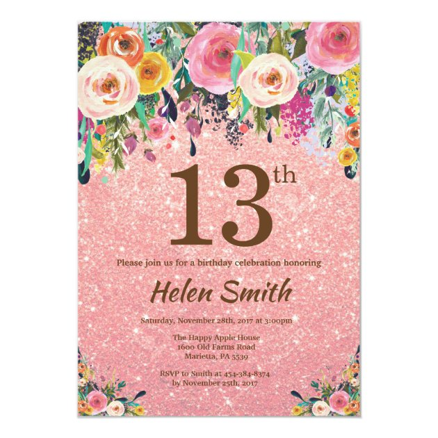 chalk effect pink gold floral 13th