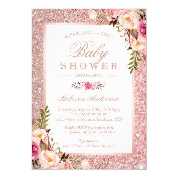 Rose Gold Glitter Pink Floral Girl Baby Shower Card
