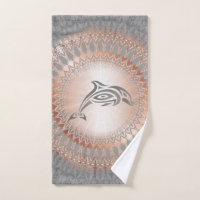 Rose Gold Gray Dolphin Mandala Hand Towel