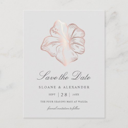 Rose Gold Hibiscus Flower Wedding Save the Date Announcement Postcard
