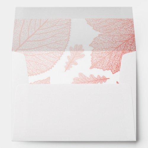 Rose Gold Leaves Fall Wedding Envelope