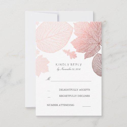 Rose Gold Leaves Fall Wedding RSVP Cards