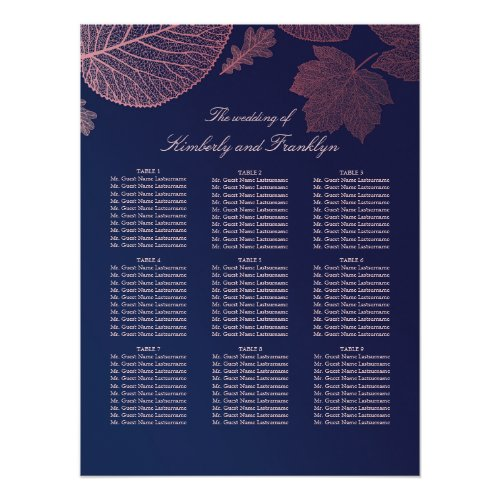 Rose Gold Leaves Fall Wedding Seating Chart