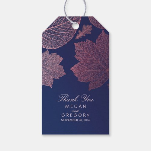 Rose Gold Leaves Navy Blue Fall Wedding Gift Tags