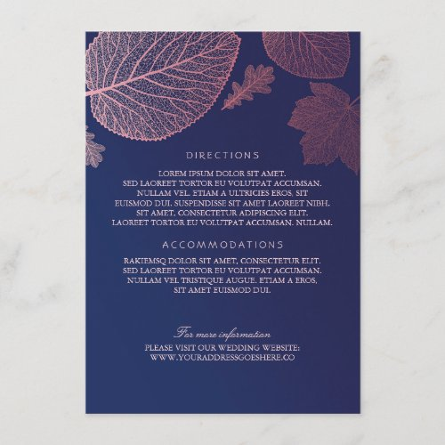 Rose Gold Leaves Navy Blue Wedding Details Enclosure Card