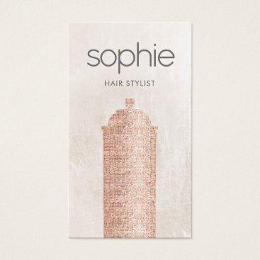 Rose Gold  Sequin Hair Stylist Spray Can Salon Business Card