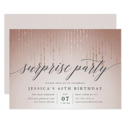 Rose Gold String Lights Surprise Party Invitation