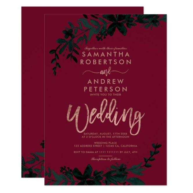 Rose Gold Typography Fl Red Wedding