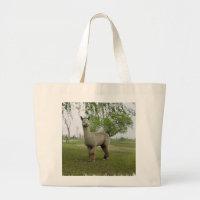 Rose grey alpaca large tote bag