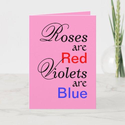Roses Red Violets Blue Valentine Poem Holiday Card
