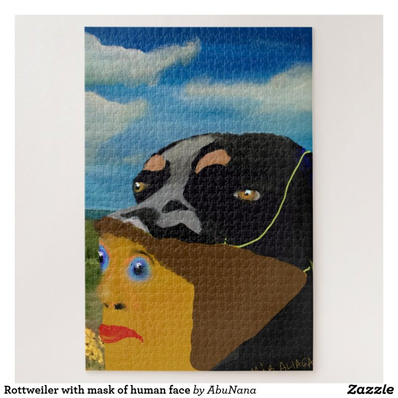 Rottweiler with mask of human face jigsaw puzzle