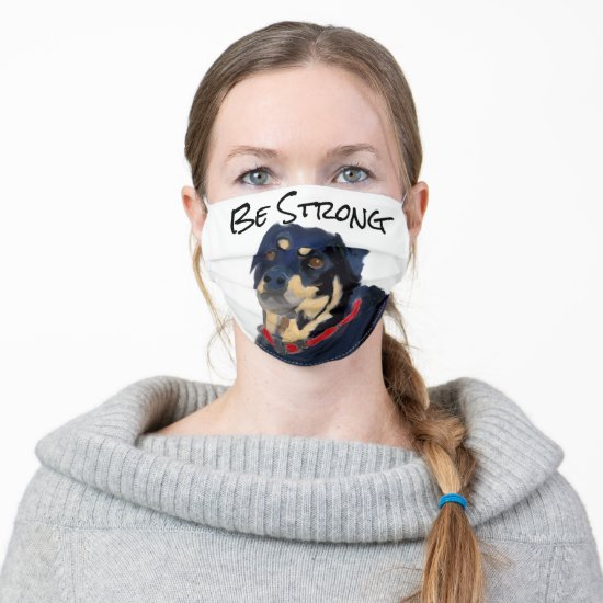 Rottweiler with personalized motto cloth face mask