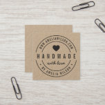 Round Border Bold Handmade With Love Heart Square Business Card