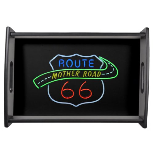 Route 66 Mother Road Neon Sign Food Tray