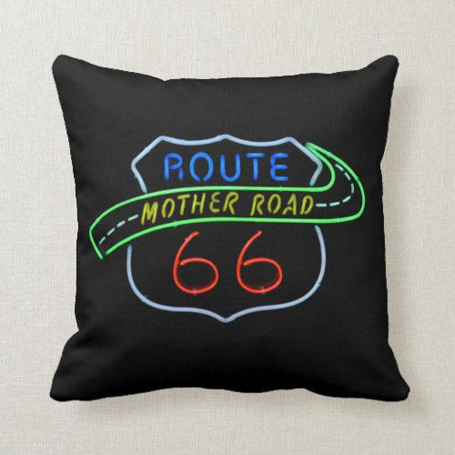 "Route 66 ""Mother Road"" Neon Sign Throw Pillows"