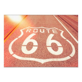 Route 66 Photo Edit - Orange Glow Custom Invitation