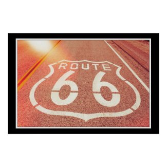 Route 66 Photo Edit - Orange Glow Poster