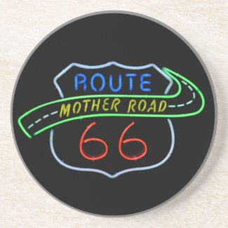 Route 66, The Mother Road, Neon Sign Beverage Coaster