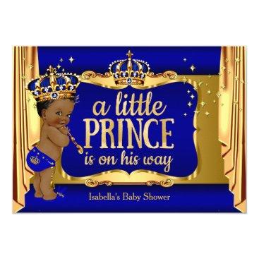 Royal Blue Gold Boy Prince Baby Shower Ethnic Card