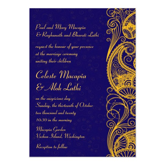 Royal Blue Gold Paisley Hindu Indian Wedding Invitation