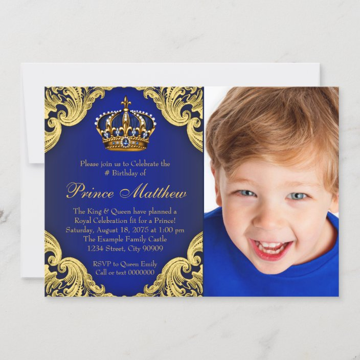 royal blue gold prince birthday party invitations zazzle com