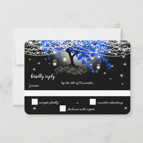 Royal Blue Heart Leaf Tree on Black Wedding RSVP Card